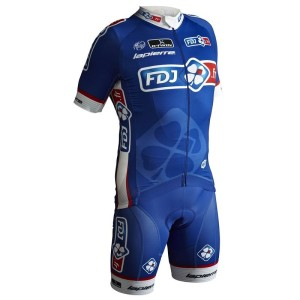 The FDJ team are racing in a blue kit for the first time during this year's Tour de France.